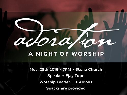 이번주 'Adoration Worship'입니다. Stone Church 유스청년들과 함께 예배 드립니다.
